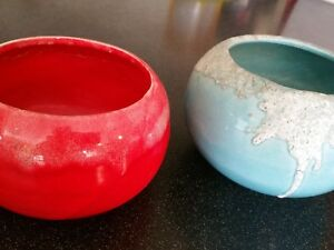 2 Mid Century Danish Modern Flower Pots Planter Blue Red California Pottery