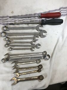 Snap On Mac Vintage Wrench Lot Set Short Long Flare Standard Metric Box