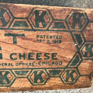 Vintage 1919 Advertising Kraft Wood Cheese Box Primitive Country Decor