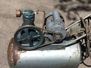 Vintage Antique Air Compressor Delco Motor Runs nice Working Collectable