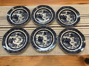 Six 18th Century Antique Chinese Export Canton Blue White Plate 9 5in