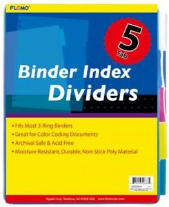 5 Pack Poly Binder Index Dividers With Colored Tabs Case Of 48
