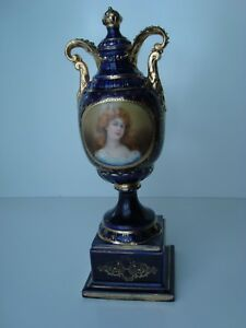 Antique Royal Vienna Blue Gold Porcelain Urn Vase W Hand Painted Lady Portrait