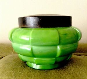 Antique Art Deco Green Glass Lidded Jar