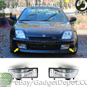 For 1997 1998 1999 2000 2001 Honda Prelude Pair Of Clear Lens Fog Lights Lamps