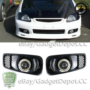 For 1999 2000 Honda Civic Clear Lens Led Halo Drl Projector Fog Light Lamps Pair