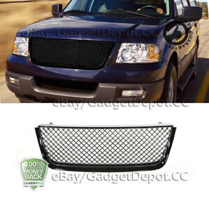 For 2003 2004 2005 2006 Ford Expedition Upper Hood Glossy Black Mesh Grille