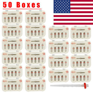 50packs Dental Fiber Post Resin Post Screw Thread Quartz Drills Usa Red Fp d