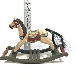 Vtg Wooden Horse Sculpture Hand Carved Painted Rocking Toy Colorful Home Decor6