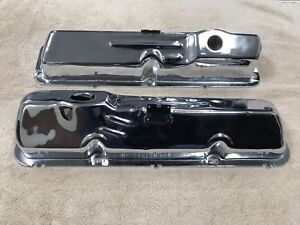 1967 68 Ford Fairlane Galaxie Fe Pent Roof Oem Valve Covers Chrome 427 406 390