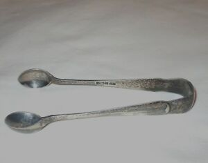 Vtg Antique English Sterling Silver Pickle Olive Sugar Tongs 20grams 4 25