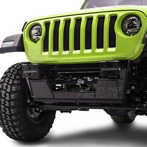 Black Front Bumper Heavy Duty Skid Plate Double Plate For 18 19 Jeep Jl Wrangler