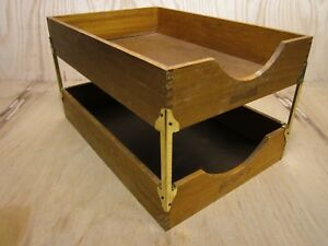 Lot 2 Vintage Wood Desk Organizer Legal Tray Dovetail Wood Office In Out Box 13