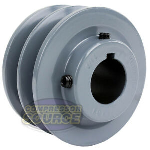 3 5 Cast Iron 1 1 8 Shaft Pulley Sheave Dual 2 Groove V Style B Belt 5l New