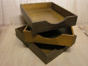 Lot 3 Vintage Wood Desk Organizer Letter Tray Dovetail Wood Office In Out Box 17