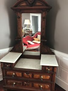 Antique Marble Top Dresser With Mirror