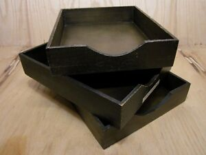 Lot 3 Vintage Wood Desk Organizer Letter Tray Dovetail Wood Office In Out Box 12