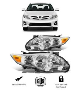 2011 2013 Toyota Corolla Chrome Housing Clear Lens Front Headlights 11 13