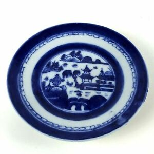 Antique Canton Porcelain Blue White Willow Small Plate 112