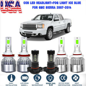 6x Cob Led Headlight fog Light For Gmc Sierra 2007 2014 8000k Ice Blue Bulbs Hot