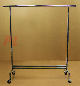 81 h Single Bar Adjustable Clothes Rack Garment Display Clothes Hanger Retail