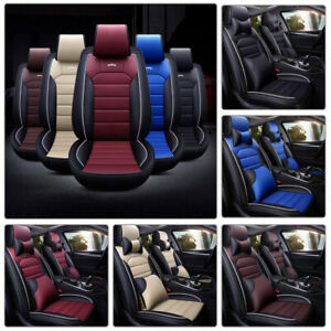 11pcs Pu Leather Car Seat Cover Headrest protector Full Set 5 seats Cushions Suv