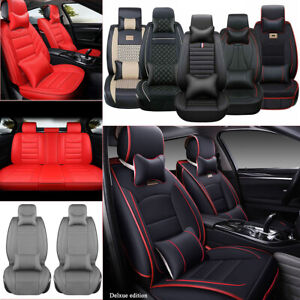 Pu Leather Car Seat Cover Cushion Full Set 5 Seats Suv Front Rear Universal Us