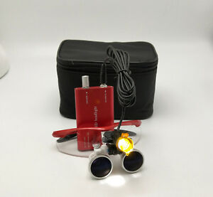 Dental 3w Led Headlight With Filter 3 5x Binocuar Magnifying Loupes Red