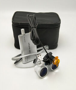 Dental 3w Led Headlight With Filter 3 5x Binocuar Magnifying Loupes Silver