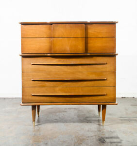 Mid Century Modern Dresser Highboy United Tallboy Danish Vintage Martinsville Nm