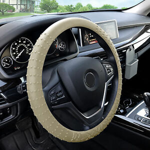 Silicone Steering Wheel Cover Nibs Sturdy Massage Grip Beige For Auto