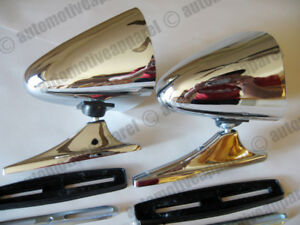 Vintage Style Chrome Sport Mirrors Classic Musclecar Restomod Hotrod Kit