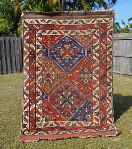 Distressed Antique Caucasian Wool Rug 4x6 Blues Reds Tribal Oriental Persian