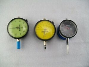 Lot Of 3 Dial Indicators 2 Federal And 1 Fowler With Magnetic Base