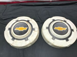 Chevy Truck Dog Dish Hubcaps White Wheel Covers 1969 70 71 72 73 74 75 76