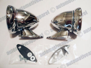 Vintage Chrome Bullet Mirrors Classic Musclecar Restomod Hotrod Complete Kit