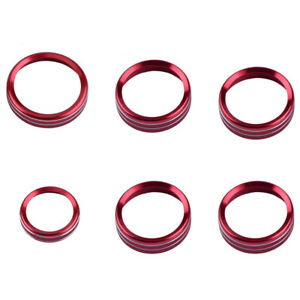 6x Air Conditioner Audio Switch Decor Ring Cover Trim Parts Red Fit Ford F150