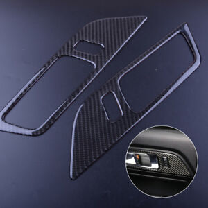 2pcs Carbon Fiber Inside Door Handle Frame Cover Trim For Ford Mustang 2015 18