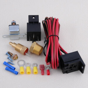 175 185 Electric Engine Fan Thermostat Temperature Relay Switch Sensor Kit