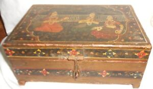 Vintage Hand Painted Folk Art Hinged Wood Jewelry Box 6 Compartments Inside
