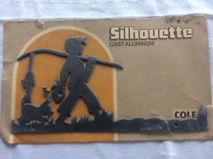 Mid Century Silhouette Cole Cast Aluminum Sign Address Lamp Post Free Shipping