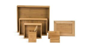 Bamboo Table Top Office Desk Organizer Set By Uplift Desk