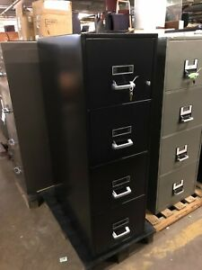 4 Drawer Letter Size Fire proof File Cabinet By Diebold W lock key In Black