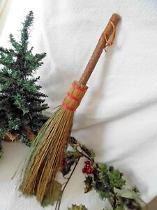 Primitive Vintage Handmade Hearth Broom Wooden Bark Handle Brea College