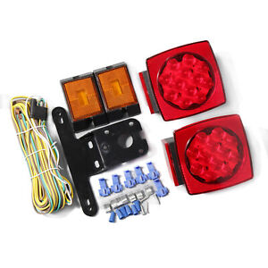 Submersible Red Stop Tail Trailer Boat Led Light Kit Illuminator Bracket Mount