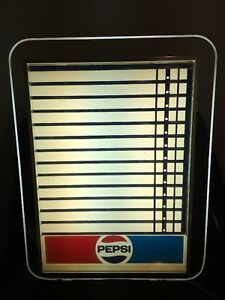Vintage Pepsi Cola Menu Advertising Lighted Sign Restaurant Pop Soda Works Great