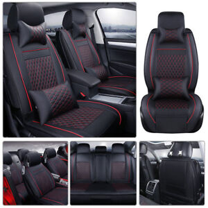 100 Pu Leather Car Seat Cover Front rear Cushion 5 seats Suv Black W Red Line