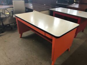 60 w X 30 d X 29 h Vintage Style Tank Table Desk W Center Drawer In Orange