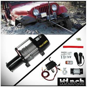 6000lb 12v Electric Waterproof Winch Kit W Steel Cable Remote For Utv Atv