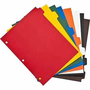 Advantage Plain Tab Color Polyethylene Index Dividers 3 Hole Punched 8 tab